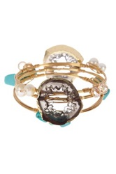 Bansri Olivia Agate Druzy 12Mm Simulated Freshwater Pearl Bangle Set Multi