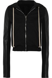 Rick Owens Leather Paneled Cotton Jersey Hooded Top Black