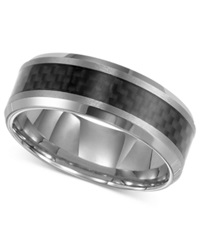 Triton Men's Tungsten Carbide Ring Black Carbon Fiber Stripe Wedding Band