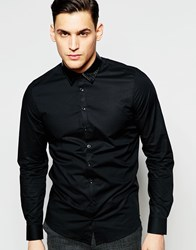 Vito Shirt With Faux Leather Collar Black