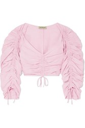 Nicholas Ruched Cropped Silk And Linen Blend Top Pink