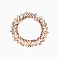 Tiffany And Co. Return To Tiffanytm Multi Heart Tag Bracelet In 18K Rose Gold Large. No Gemstone