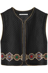 Alessandra Rich Embroidered Quilted Jacquard Vest Black