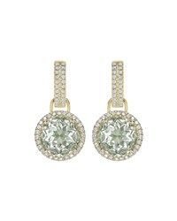 Kiki Mcdonough Grace Green Amethyst And Diamond Round Drop Earrings Medium Green
