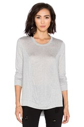 Lanston Slit Rib Paneled Sweatshirt Light Gray