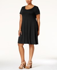Styleandco. Style Co. Plus Size Short Sleeve Swing Dress Only At Macy's Deep Black