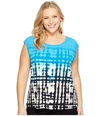 Calvin Klein Plus Size Extended Shoulder Printed Top W Buttons Black Adriatic Women's Sleeveless Blue