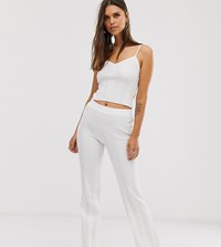 Micha Lounge Flare Trousers In Wide Rib Knit Co White