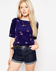 Trollied Dolly Top In Pony Print Navy