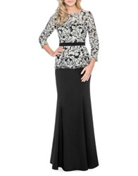 Decode 1.8 Scalloped Lace Floor Length Dress Black Silver