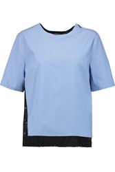 Msgm Layered Stretch Cotton And Guipure Lace Top Light Blue