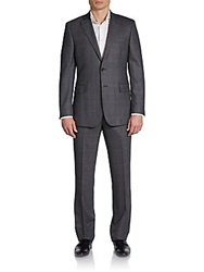 Saks Fifth Avenue Black Regular Fit Wool Windowpane Two Button Suit Grey