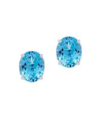 Lord And Taylor Swiss Blue Topaz Sterling Silver Oval Stud Earrings