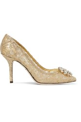 Dolce And Gabbana Crystal Embellished Corded Lace Pumps Gold