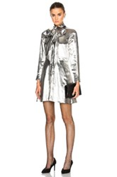 Saint Laurent Lightweight Twill Lame Dress In Metallics