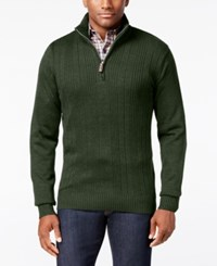 Tricots St Raphael Tricot St. Men's Faux Fur Trim Rib Knit Sweater Olive