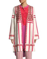 Figue Liraz Striped Open Front Caban Jacket With Embroidered Yoke White Pattern
