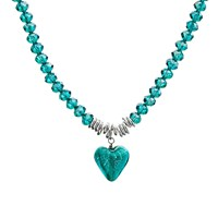Martick Murano Heart And Crystal Pendant Necklace Green