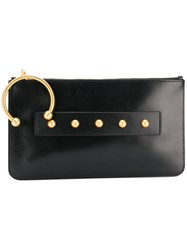 Red Valentino Piercing Detail Clutch Calf Leather Brass Black