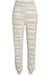 Missoni Jacquard Knit Cashmere And Silk Blend Track Pants Beige