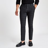 River Island Dark Grey Check Skinny Fit Smart Trousers