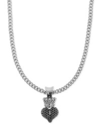 King Baby Studio Pave Crown Heart 18 Pendant Necklace In Sterling Silver