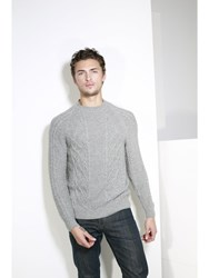 Johnstons Of Elgin Cashmere Aran Sweater Grey