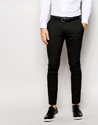 Selected Tuxedo Trousers With Jacquard In Skinny Fit Black