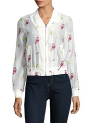 Design Lab Lord And Taylor Floral Embroidered Zip Bomber Jacket White