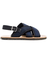 Marni Crossover Fussbett Sandals Rubber Polyamide Calf Leather Leather Black