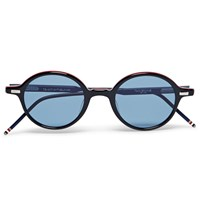 Thom Browne Round Frame Striped Acetate Sunglasses Black