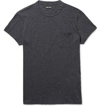 Tom Ford Slim Fit Melange Cotton And Cashmere Blend T Shirt Dark Gray