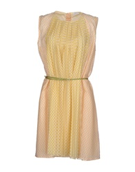 Gold Case Short Dresses Light Yellow