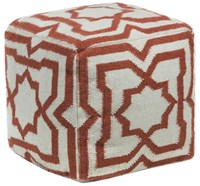 Chandra Textured Contemporary Wool Pouf Cream Rust Brown