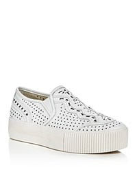 Ash Kingston Perforated Slip On Platform Sneakers White