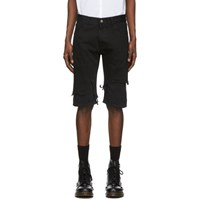 Raf Simons Black Distressed Double Layer Shorts