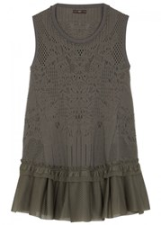 High Flawless Olive Stretch Lace Top Khaki