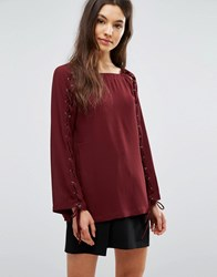 Greylin Jamie Grommet Lace Up Blouse Antique Red