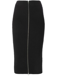 T By Alexander Wang Ribbed Knit Midi Skirt Black