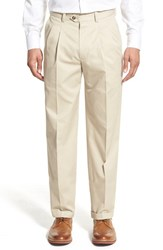 Nordstrom Men's Big And Tall Men's Shop Classic Smartcare Tm Supima Cotton Pleated Trousers Beige Light
