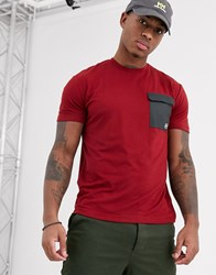 Helly Hansen Lomma T Shirt In Burgundy With Nylon Pocket Red