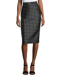 Ralph Lauren Carlton Polka Dot Pencil Skirt Black White