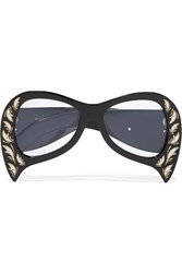 Gucci Oversized Round Frame Actate Sunglasses Black