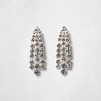 River Island Womens Silver Tone Diamante Strand Dangle Earrings