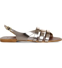 Office Bamboo Metallic Leather Strappy Flat Sandals Gold Leather
