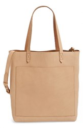 Madewell Medium Leather Transport Tote Ivory Linen