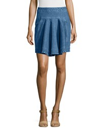 Stella Mccartney Pleated Denim Short Skirt Blue