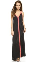 Pitusa Sun Maxi Dress Black W Fuchsia
