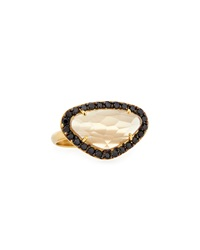 Vianna B.R.A.S.I.L 18K Gold Pearly Agate Ring W Black Diamonds Size 7.25