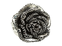 King Baby Studio Rose Ring With Pave Black Cz